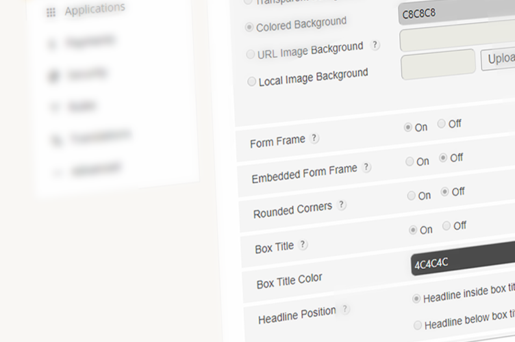 php form customization options