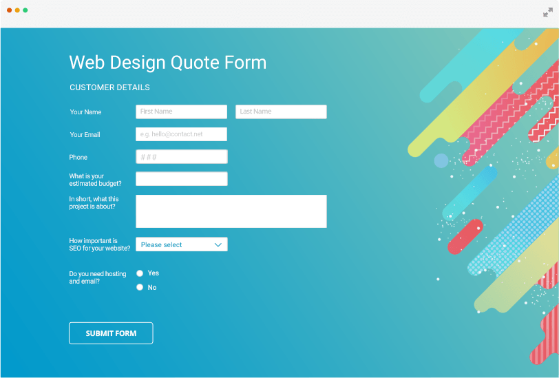 custom web design form